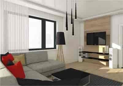 Salon, hol, kuchnia, jadalnia – prywatny dom jednorodzinny